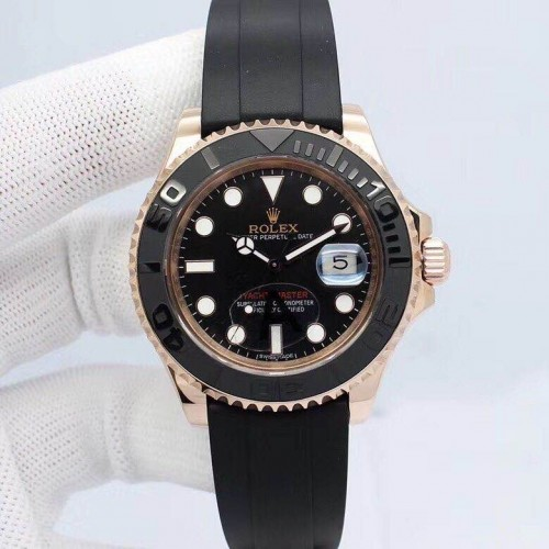 롤렉스 Yacht-Master Black Ceramic Bezel Automatic Movement Rubber Strap - 레플월드